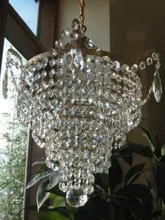 Fabulous Large Vintage French 5 Tier Lead Crystal Chandelier Light   eBay