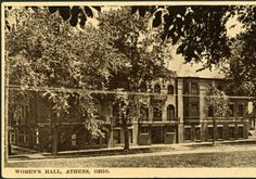 Howard Hall in summer postcard. Howard Hall women's dormitory was located on the corners of S. College and E. Union streets, and next to Voigt Hall. Howard Park is now where it once stood. :: Ohio University Archives.