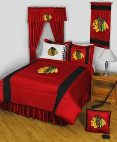 NHL Chicago Blackhawks Bedding...For more kids room decor and organizing tips, ideas and products 'LIKE' https://www.facebook.com/KidsRoomDecor