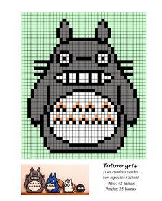 Totoro gris hama beads pattern