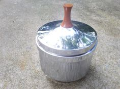 Art Deco Ice bucket with a teak wood handle by kennjenn on Etsy, $45.00