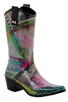 Beehive Rain Bops Ladies Multi Colored Southern Sass Cowgirl Rain Boots. I love mine..and I have gotten so many compliments!