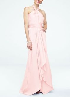 This beautiful, soft and flowy silhouette is effortlessy chic for your bridal party!  Sleeveless matte charmeuse bodice withy-halter neckline and figure flattering ruched waistband.  Long, soft front cascade with slit for added movement.  Fully lined. Back zip. Imported polyester. Dry clean only.  Limited availability for all colors. To protect your dress, try our Non Woven Garment Bag.
