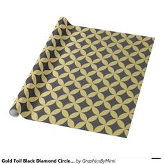 Gold Foil Black Diamond Circle Pattern Wrapping Paper