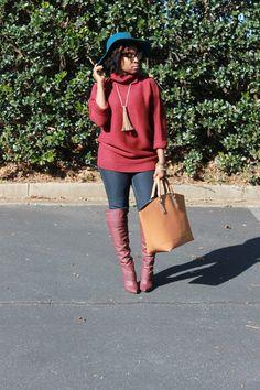 Atlanta blogger, style blogger, Atlanta style blogger, Black girls killing it, Burgundy boots, Bordeaux sweater, ShoeDazzle, Turquoise Hat, winter wear, street style, fringe necklace, oversized handbags, floppy hat, over the knee boots