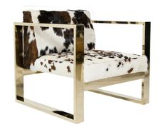 Kube Chair In Exotic Tri Color Cowhide   MidCentury  Modern, Leather, Metal, Armchair by Mod Shop