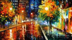 Leonid Afremov Downtown Street oil painting reproductions for sale