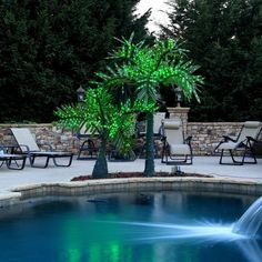 Realistic Commercial LED Lighted Palm Tree with Green Canopy - Yard Envy Backyard Canopy, Backyard Pool Landscaping, Garden Canopy, Canopy Outdoor, Tropical Landscaping, Landscaping Ideas, Backyard Ideas, Tropical Backyard, Inexpensive Landscaping