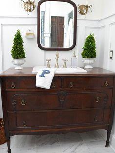 Turn a Vintage Dresser Into a Bathroom Vanity : Decorating : Home Garden Television