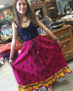 Womens Maxi Skirt Printed Pink Cotton Summer Bellydance Flared Sexy Peasant Long Skirts S/M/L Bohemian Skirt, Gypsy Skirt, Bohemian Style, Bohemian Fashion, Bohemian Gypsy, Maxi Skirt Style, Indian Skirt, Peasant Skirt, Womens Maxi Skirts