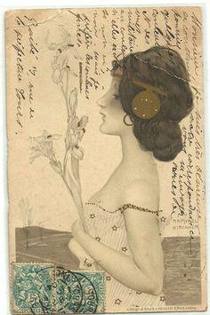 Romantic Lady w/Lilies Flowers Art NOUVEAU Raphael Kirchner Signed old Postcard
