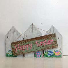 Easter decor Reclaimed wood holiday sign Rustic wood easter egg decoration on Etsy, $40.00
