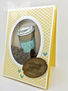 Coffee bean shaker card video tute - shaker made with a box, rather than foam surround. By Carolyn.