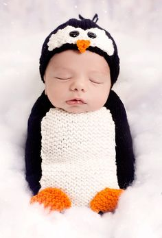 Knitting Pattern for Penguin Cocoon and Hat Baby Newborn Photo Prop -This snuggly matching sleep sack and hat set by Melody's Makings can also be used as a newborn prop or Halloween costume, Suzes Newborn, 0-3 Months, 3-6 Months, 6-12 Months with larger size options for hat.