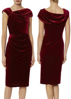 Red Velvet dress for a winter Wedding Guest. What to wear to a December Wedding. Velvet Cocktail Dress. This dress is cut in a Christmas red soft velvet fabric, with gathering at the waist which creates a figure-flattering draped effect, and an asymmetric collar that adds a touch of elegance. Also featuring gold studs all over the dress for added detail. #winterwedding #newyearseve #christmasparty #velvetdress #motherofthebride #xmasparty #cocktaildress Winter Wedding Outfits, Winter Wedding Guests, Christmas Party Outfits, Winter Fashion Outfits, Party Dresses Uk, Sequin Party Dress, Mother Of The Bride Fashion, New Years Eve Dresses, Red Velvet Dress