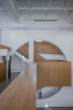 Gallery of BetterLife Group Headquarter / TEMP - 8 Chinese Courtyard, Architecture Company, Concrete Column, Steel Columns, Grey Brick, Green Cabinets, Glass Partition, Architectural Elements, Strip Lighting