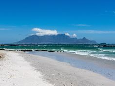 Table Mountain from Beach Table Mountain, Free Stock Photos, Landscapes, Beach, Water, Outdoor, Paisajes, Gripe Water, Outdoors