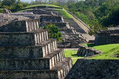 Close up view of pyramids at El Tajin ruins, near Papantla, Veracruz state, Mexico