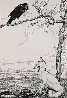 Arthur Rackham:The Fox and the Crow, illustration from Aesops Fables, published by Heinemann, 1912