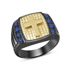 Sterling Silver Mens Cross Blue Sapphire Ring Beautiful Band Size 7,8,9,10,11,12…