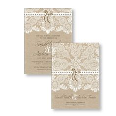 Personalised Wedding Day Evening Invitations Invites Vintage Lace & Canvas in Home, Furniture & DIY, Wedding Supplies, Cards & Invitations | eBay