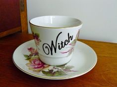 Witch hand painted vintage china teacup and by trixiedelicious