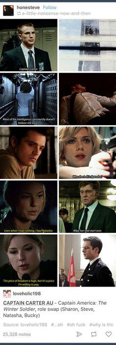 Captain America AU; Marvel; Steve Rogers; Natasha Romanoff; Bucky Barnes; Sharon Carter; Black Widow; Agent 13; Captain America; Winter Soldier