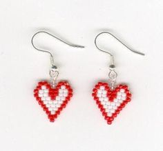 Items similar to Valentines Beaded Red and White Heart Seed Beads. Best Picture For leather Beaded Beaded Earrings Patterns, Seed Bead Patterns, Seed Bead Earrings, Jewelry Patterns, Beading Patterns, Beaded Jewelry, Seed Beads, Valentines Jewelry, Holiday Jewelry