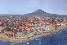 """a reconstruction of the city of Herculaneum prior to the eruption of Vesuvius in 79 AD ~ illustration from the book """"The Secrets of Vesuvius"""" by Sara C. Bisel"""