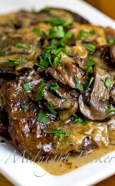 Slow Cooker Swiss Steak | bakeatmidnite.com | #SlowCooker #CrockPot #SwissSteakRecipe
