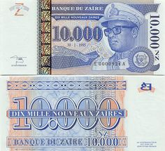New Zaires Zaire's Banknote Capital Expenditure, World Coins, African History, Banknote, Postcards, Stamps, Flow, Country