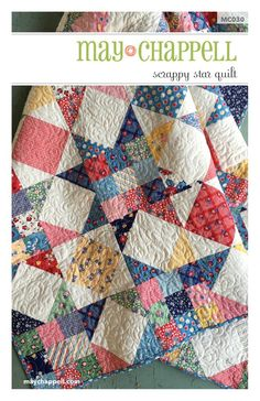 Sewing Block Quilts Image of Scrappy Stars Quilt - The perfect scrap buster! This quilt has a vintage vibe that works well with all types of fabrics. Originally designed for a Craftsy kit with their. Scrappy Quilt Patterns, Patchwork Quilting, Scrappy Quilts, Easy Quilts, Crazy Quilting, Crazy Patchwork, Denim Quilts, Blue Quilts, Quilts For Beds