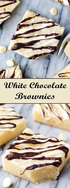 White Chocolate Brownies Fudgy, gooey white chocolate brownies are heaven in brownie form. It's an easy, one bowl brownie recipe with the mo. Magic Chocolate Cake, White Chocolate Brownies, Chocolate Blanco, White Chocolate Chips, Chocolate Flavors, Chocolate Recipes, Brownie Recipes, Cake Recipes, Yummy Recipes