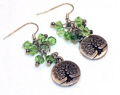 Tree of Life Green Swarovski Crystal Earrings by lindab142. Explore more products on http://lindab142.etsy.com