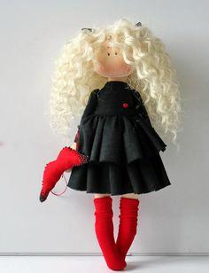 Handmade doll Tilda doll Interior doll Soft doll Textile doll Holiday Crochet Patterns, Yellow Fabric, Bear Doll, Soft Dolls, Fabric Dolls, Puppets, Doll Clothes, Easy Crafts, Boy Doll