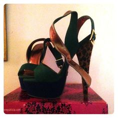 Blue/Green/Leopard Heels Great to make a statement at any party or occasion! Blue and green with leopard heel. Open toe with strap around the ankle. Great with jeans, dress/skirt, or shorts. Comes with box. Worn once. No trades. Shoes Heels