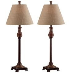 Natural fiber shades crown these stylish buffet lamps with the perfect texture to add a safari flavor to your traditional home or office. The warm, coppery-bronze color of the base has a wound reed detail at the neck and base for visual interest.