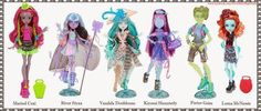 Monster High: Marisol Coxi, River Styxx, Vandala Doubloons, Kiyomi Haunterly, Porter Geiss & Lorna Mcnessie. The only one I want out of all these is Vandala Doubloons.