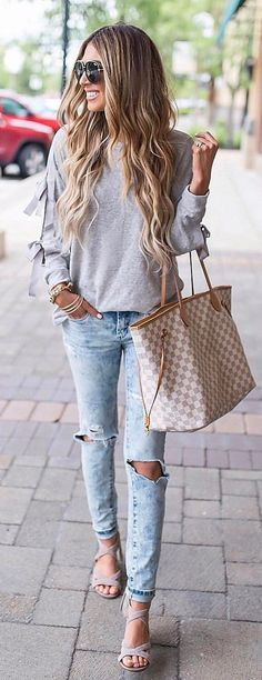 #summer #outfits Casual Knits + Ripped Jeans #casualsummeroutfits