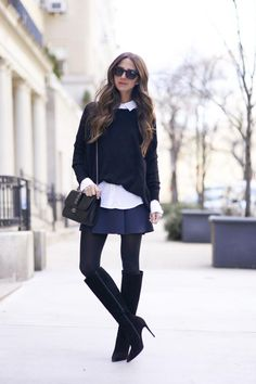 Skirt: J BRAND | Tights: Wolford | Boots: Christian Louboutin | Button Down: Banana Republic | Sweater: 360Cashmere | Sunnies: Wildfox | Bag: Valentino | Lips: Benetint by Benefit