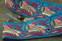 Deep Ocean Blue Royal Peacock Silk Trim Ribbon by WomanShopsWorld, $9.00
