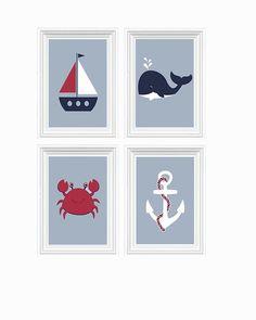 ON SALE Nautical Decor Nursery Art Beach Crab by FMDesignStudio