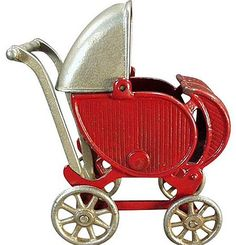 Old Cast Iron, Toy Doll Carriage - Large Size.