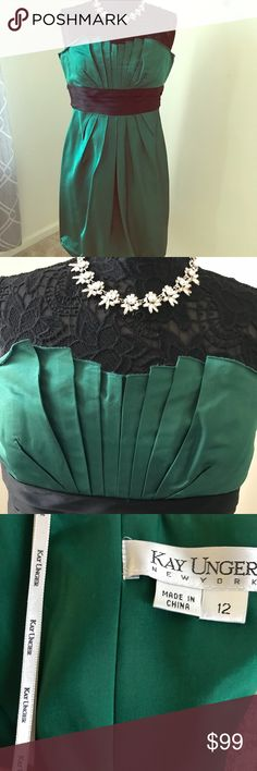 Kay Unger occasion dress! Green, green, green beautiful green dress.  This dress accentuates the waist and chest beautifully.  Goes great with stilettos!  Like and share if you ❤️this look.  Necklace sold separately.  Thank you!! Kay Unger Dresses Strapless