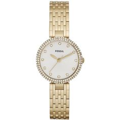 Fossil Watch, Women's Olive Gold-Tone Stainless Steel Bracelet 28mm ES3346