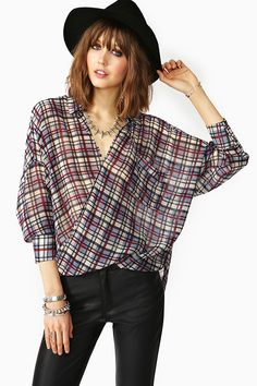 Twisted Plaid Blouse