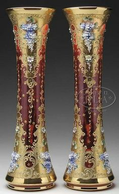Moser Glass; Vases (2), Cranberry & Gilt, Flower Clusters, Blue & White, 20 inch.