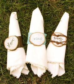 Rustic Wedding Napkin Ring / Wood Round Napkin Ring