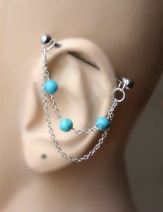 Industrial Barbell, Industrial piercing, Jewelry, Industrial bar earring, Industrial piercing chain, Howlite turquoise by triballook on Etsy https://www.etsy.com/listing/227817236/industrial-barbell-industrial-piercing