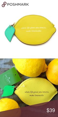 Kate Spade Lemon Coin Purse Brand NEW Lemon-shaped Kate Spade pouch with 'When life gives you lemons, make limoncello' lettering is a clever way to carry the necessities. Zip closure and lined interior.  100% Authentic   MEASUREMENTS Height: 3.5in / 9cm Length: 5in / 12.5cm  No Trades✅Bundle and Save✅ kate spade Accessories